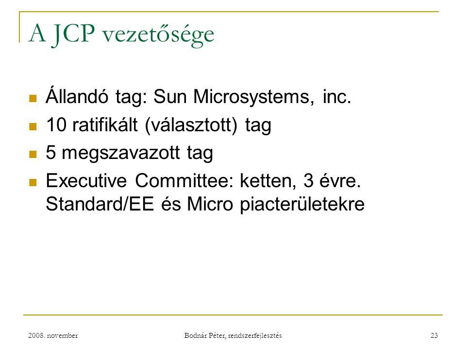 2008. november Bodnár Péter, rendszerfejlesztés 23 A JCP vezetősége Állandó tag: Sun Microsystems, inc. 10 ratifikált (választott) tag 5 megszavazott