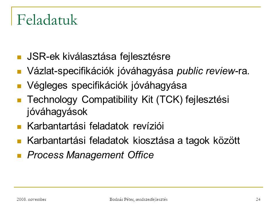 2008. november Bodnár Péter, rendszerfejlesztés 24 Feladatuk JSR-ek kiválasztása fejlesztésre Vázlat-specifikációk jóváhagyása public review-ra. Végle