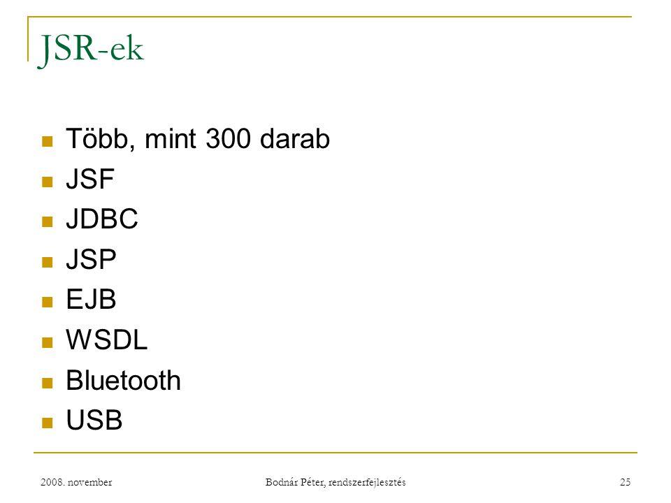 2008. november Bodnár Péter, rendszerfejlesztés 25 JSR-ek Több, mint 300 darab JSF JDBC JSP EJB WSDL Bluetooth USB