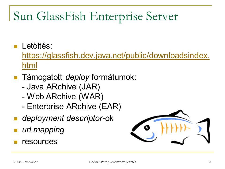 2008. november Bodnár Péter, rendszerfejlesztés 34 Sun GlassFish Enterprise Server Letöltés: https://glassfish.dev.java.net/public/downloadsindex. htm