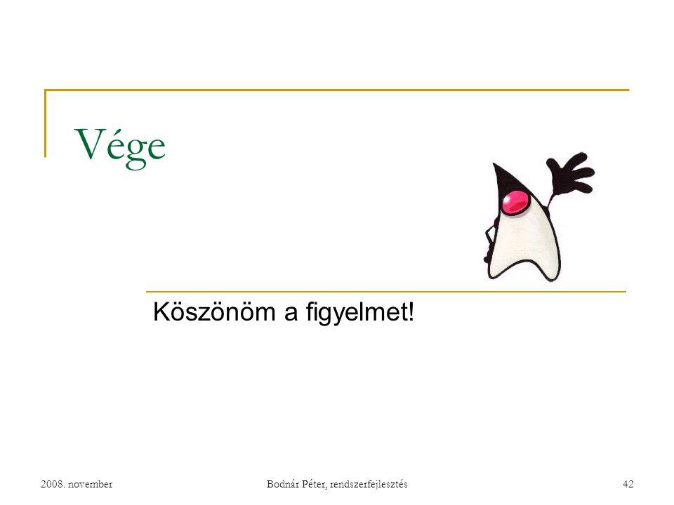 2008. novemberBodnár Péter, rendszerfejlesztés42 Vége Köszönöm a figyelmet!