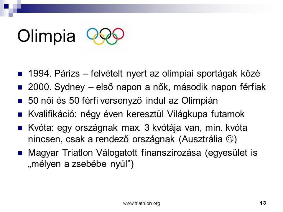 www.triathlon.org13 Olimpia 1994.Párizs – felvételt nyert az olimpiai sportágak közé 2000.