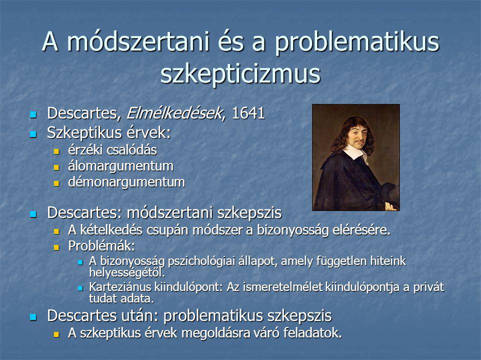 A módszertani és a problematikus szkepticizmus Descartes, Elmélkedések, 1641 Descartes, Elmélkedések, 1641 Szkeptikus érvek: Szkeptikus érvek: érzéki