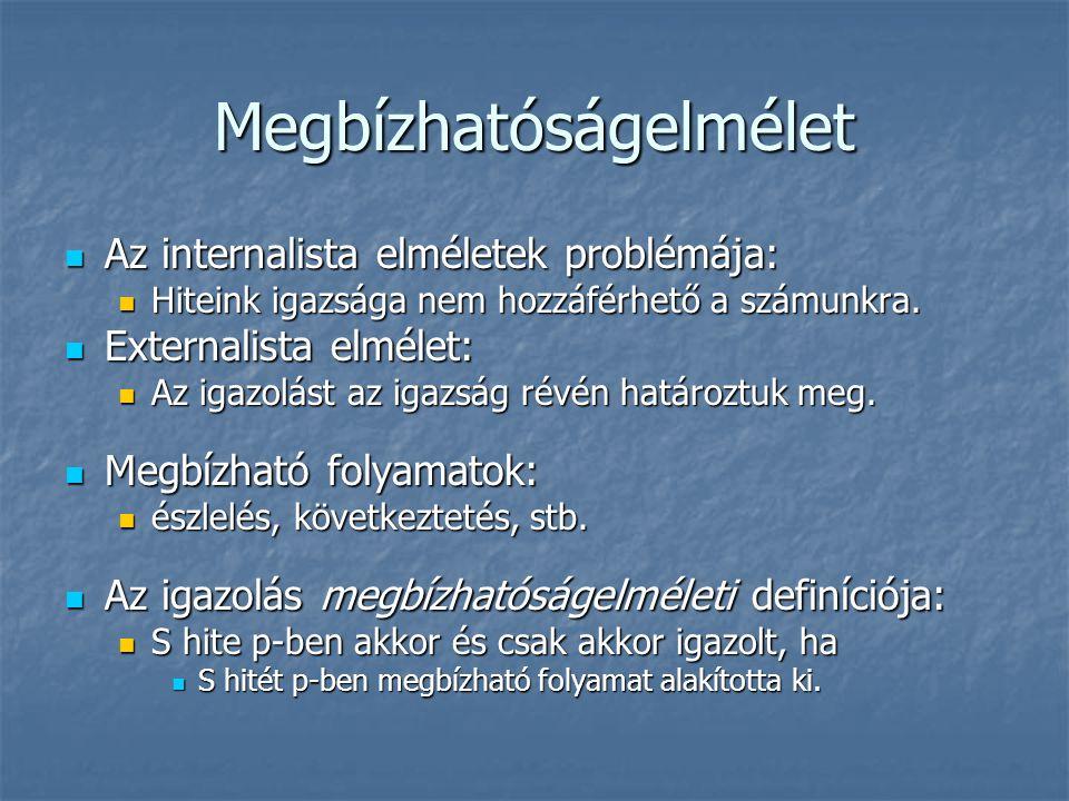 Megbízhatóságelmélet Az internalista elméletek problémája: Az internalista elméletek problémája: Hiteink igazsága nem hozzáférhető a számunkra. Hitein
