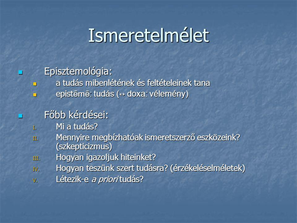 Ismeretelmélet Episztemológia: Episztemológia: a tudás mibenlétének és feltételeinek tana a tudás mibenlétének és feltételeinek tana epist ēmē : tudás