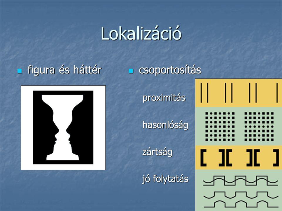 Lokalizáció figura és háttér figura és háttér csoportosítás csoportosítás proximitás hasonlóság zártság jó folytatás