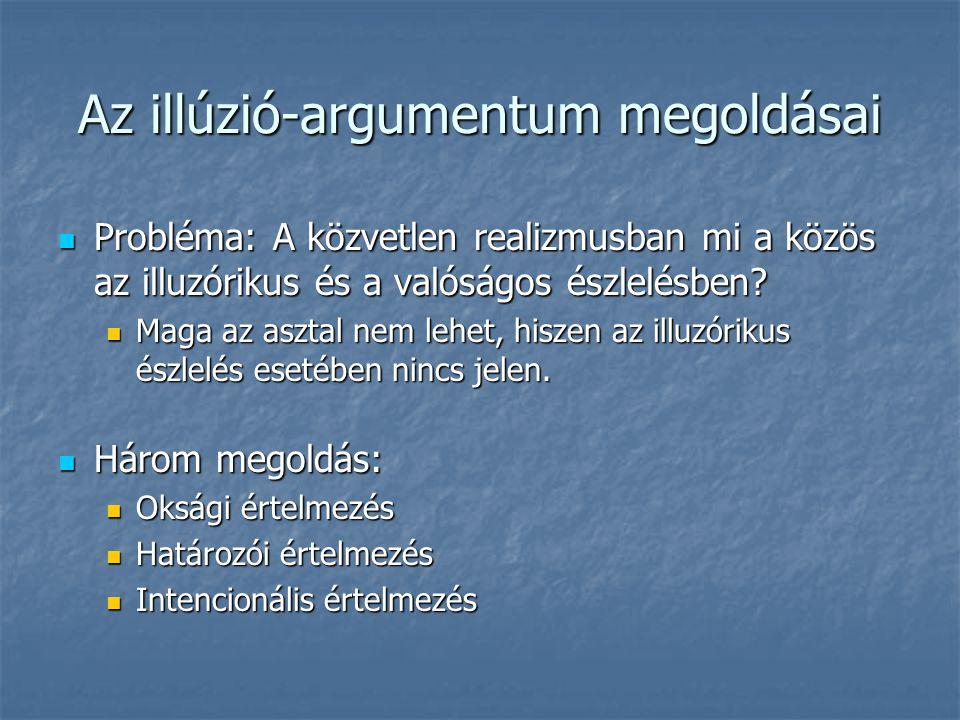 Az illúzió-argumentum megoldásai Probléma: A közvetlen realizmusban mi a közös az illuzórikus és a valóságos észlelésben? Probléma: A közvetlen realiz