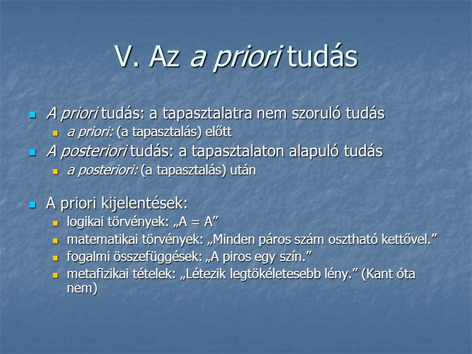 V. Az a priori tudás A priori tudás: a tapasztalatra nem szoruló tudás A priori tudás: a tapasztalatra nem szoruló tudás a priori: (a tapasztalás) elő