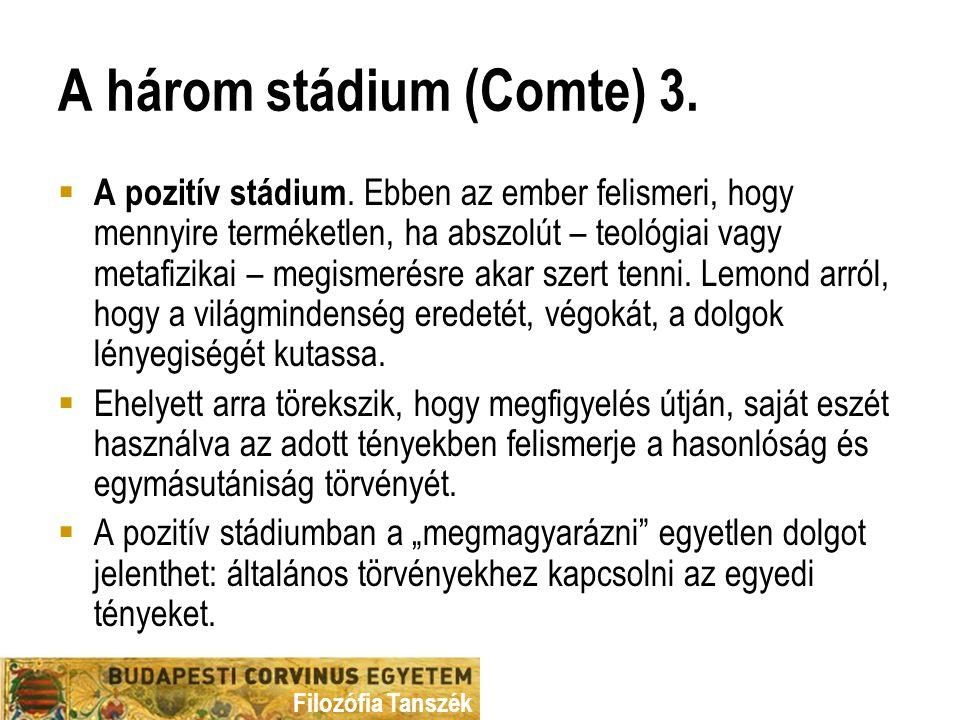 Filozófia Tanszék A három stádium (Comte) 3. A pozitív stádium.