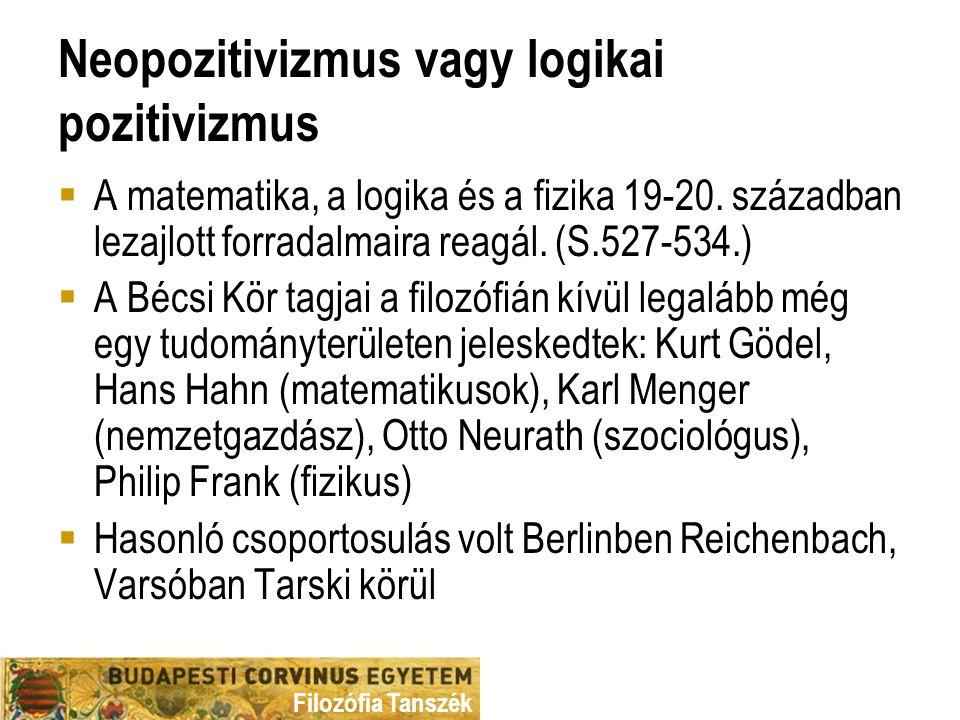 Filozófia Tanszék Neopozitivizmus vagy logikai pozitivizmus  A matematika, a logika és a fizika 19-20.