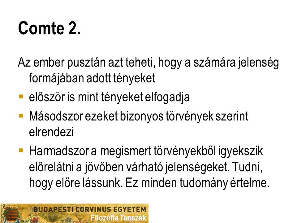 Filozófia Tanszék Comte 2.