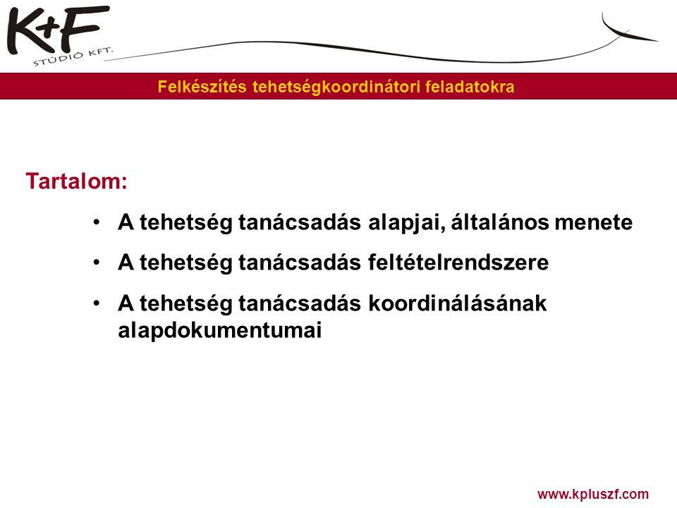 """www.kpluszf.com Felkészítés tehetségkoordinátori feladatokra A tehetség tanácsadás alapjai, általános menete Alapfogalmak: Probléma Célállapot Módszer Tanács Tanácsadó Problémagazda Problémaküldő """"Harmadik személy """"Forgatókönyv : 1.Találkozás a problémával 2.Probléma és célállapot tisztázása 3.Tanácsadás 4.Tanács értékelése 5.Tanács megvalósítása 6.Nyomon követés 7.Az eset lezárása """"P-M/T-C ANALÍZIS ® Szerepek Irodalom: Mező F."""