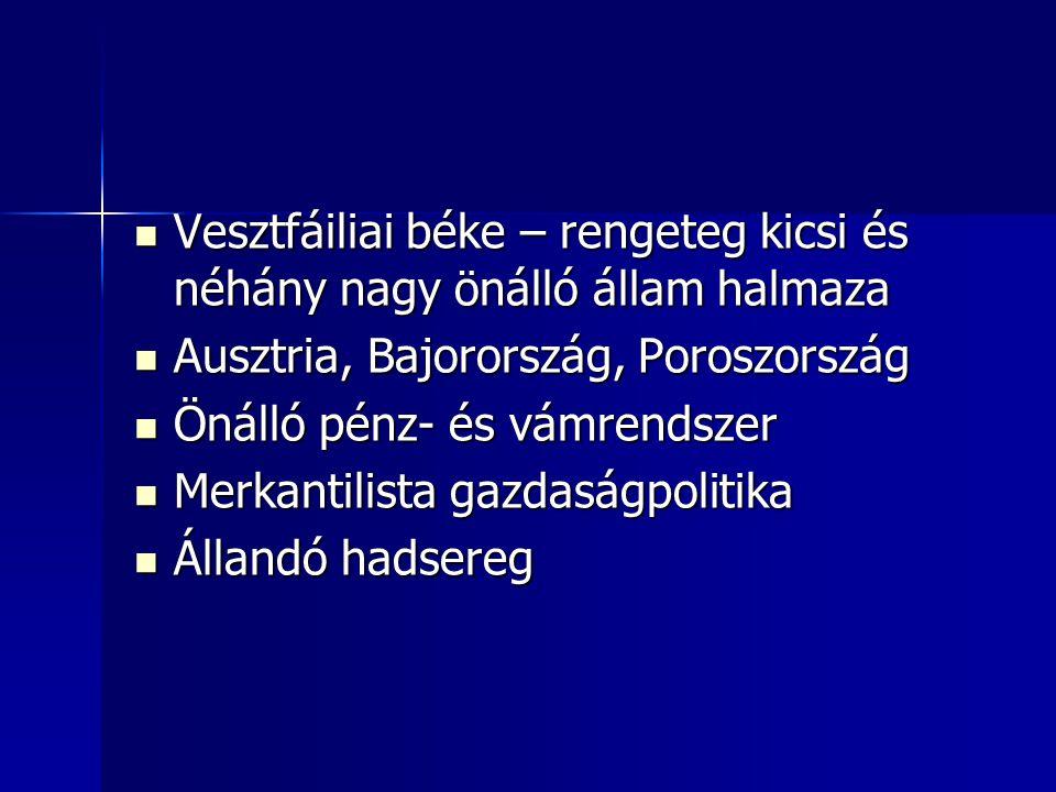 Vesztfáiliai béke – rengeteg kicsi és néhány nagy önálló állam halmaza Vesztfáiliai béke – rengeteg kicsi és néhány nagy önálló állam halmaza Ausztria