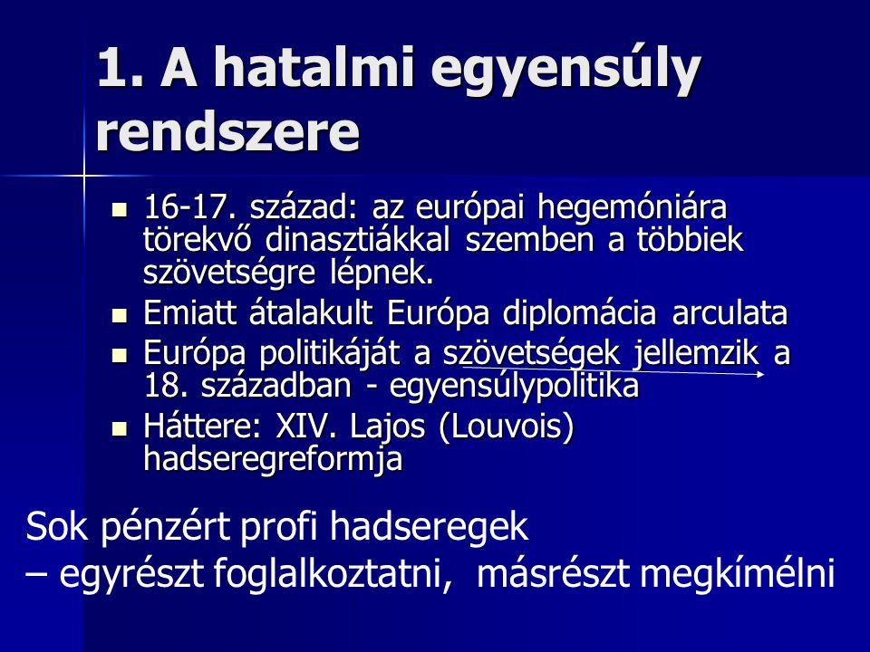 1. A hatalmi egyensúly rendszere 16-17. század: az európai hegemóniára törekvő dinasztiákkal szemben a többiek szövetségre lépnek. 16-17. század: az e
