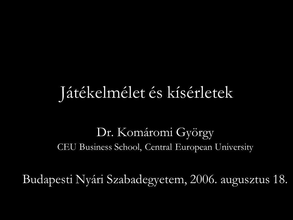 Játékelmélet és kísérletek Dr.