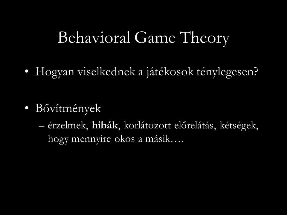 Behavioral Game Theory Hogyan viselkednek a játékosok ténylegesen.