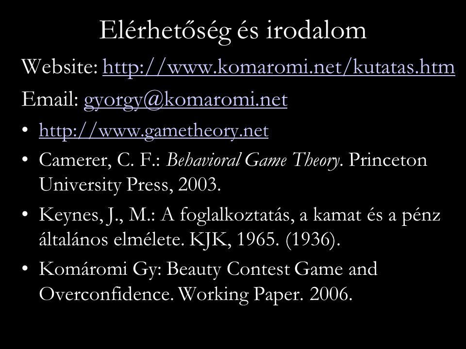 Elérhetőség és irodalom Website: http://www.komaromi.net/kutatas.htmhttp://www.komaromi.net/kutatas.htm Email: gyorgy@komaromi.netgyorgy@komaromi.net http://www.gametheory.net Camerer, C.