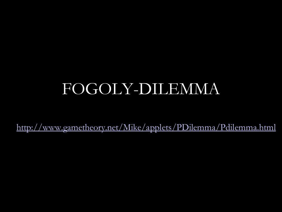 Fogoly-dilemma Fogoly 2 tagad vall tagad-1,-1 -10,0 Fogoly 1 vall0,-10 -5,-5