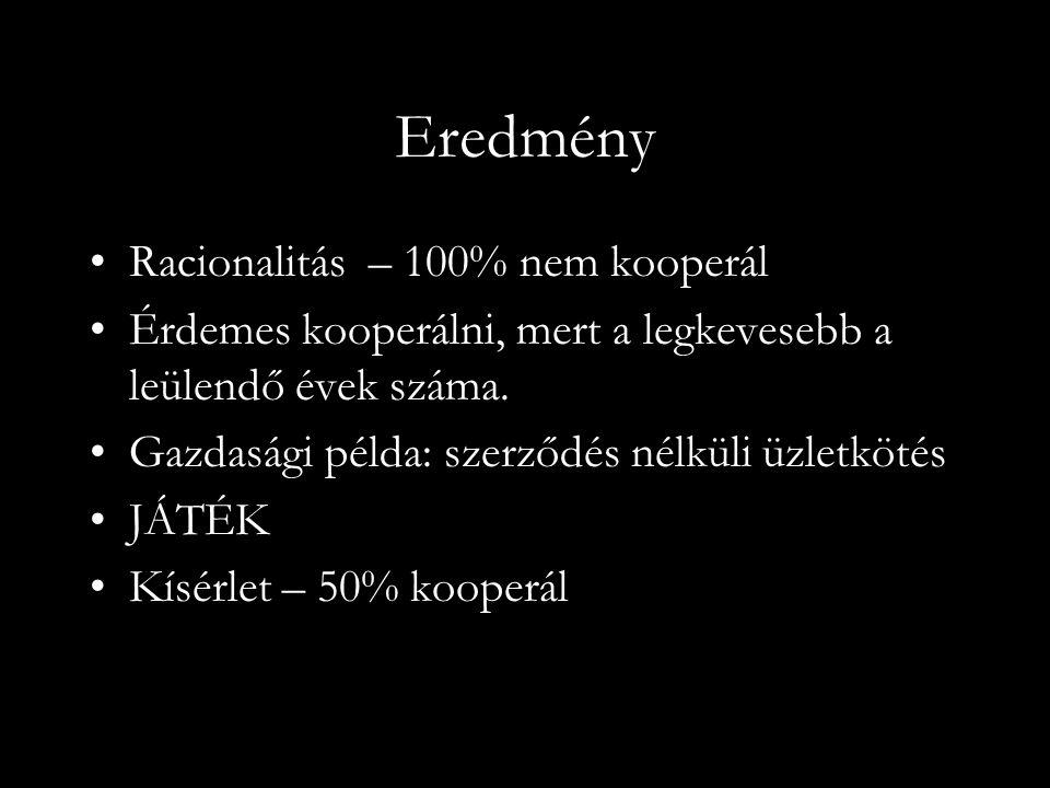 Eredmény Racionalitás – 100% nem kooperál Érdemes kooperálni, mert a legkevesebb a leülendő évek száma.
