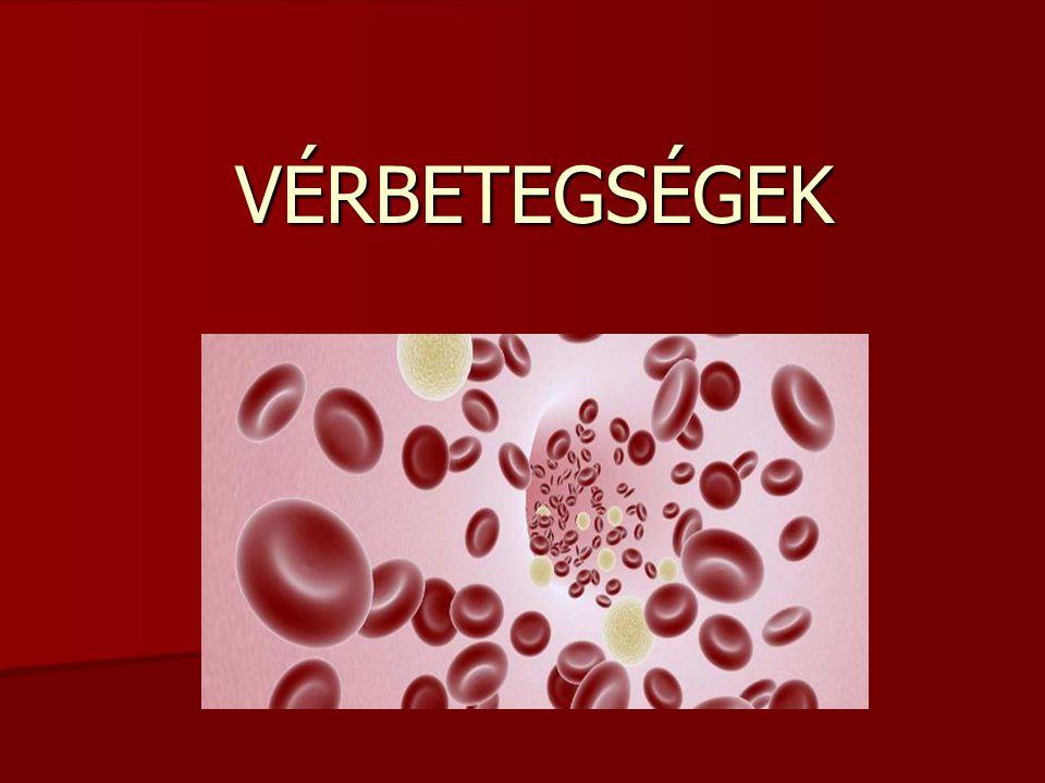 Többféle vérbetegséget különböztethetünk meg: Vérszegénység Vérszegénység Vérmérgezés Vérmérgezés Vérbaj (szifilisz) Vérbaj (szifilisz) Fehérvérőség (leukémia) Fehérvérőség (leukémia) Cukorbetegség Cukorbetegség Vérhas Vérhas