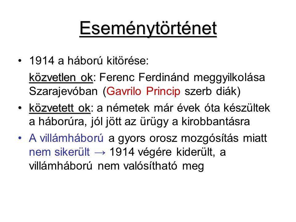 Eseménytörténet 1914 a háború kitörése: közvetlen ok közvetlen ok: Ferenc Ferdinánd meggyilkolása Szarajevóban (Gavrilo Princip szerb diák) közvetett