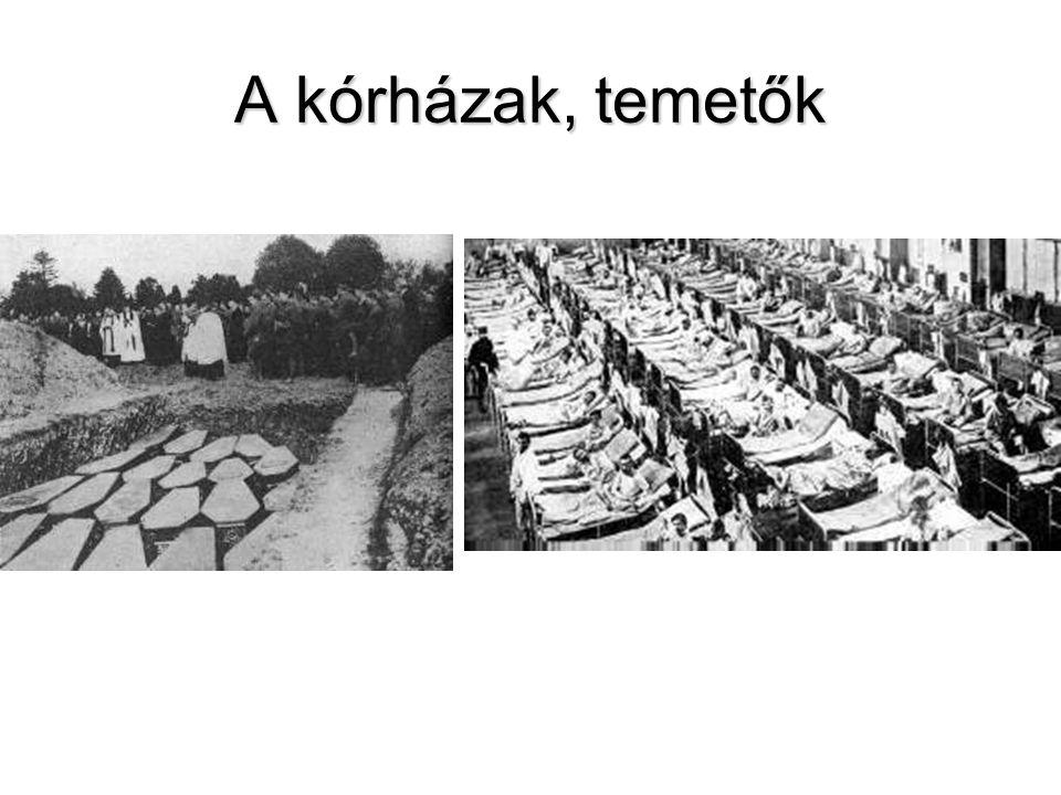 A kórházak, temetők