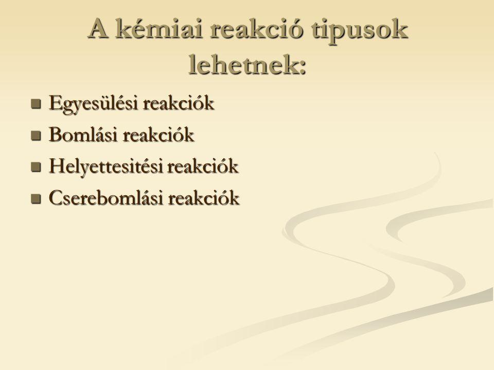 Helyetesitési reakciók 1.A reakció általános alakja: A+BC=AC+B 2.Definició:A helyettesitési reakció olyan kémiai folyamat amely során egy egy egyszerü anyag helyetesiti az öszetett anyag egy elemét.