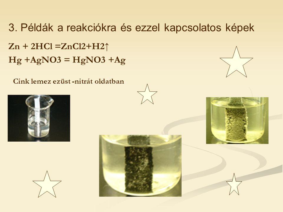 3. Példák a reakciókra és ezzel kapcsolatos képek Zn + 2HCl =ZnCl2+H2↑ Hg +AgNO3 = HgNO3 +Ag Cink lemez ezüst -nitrát oldatban