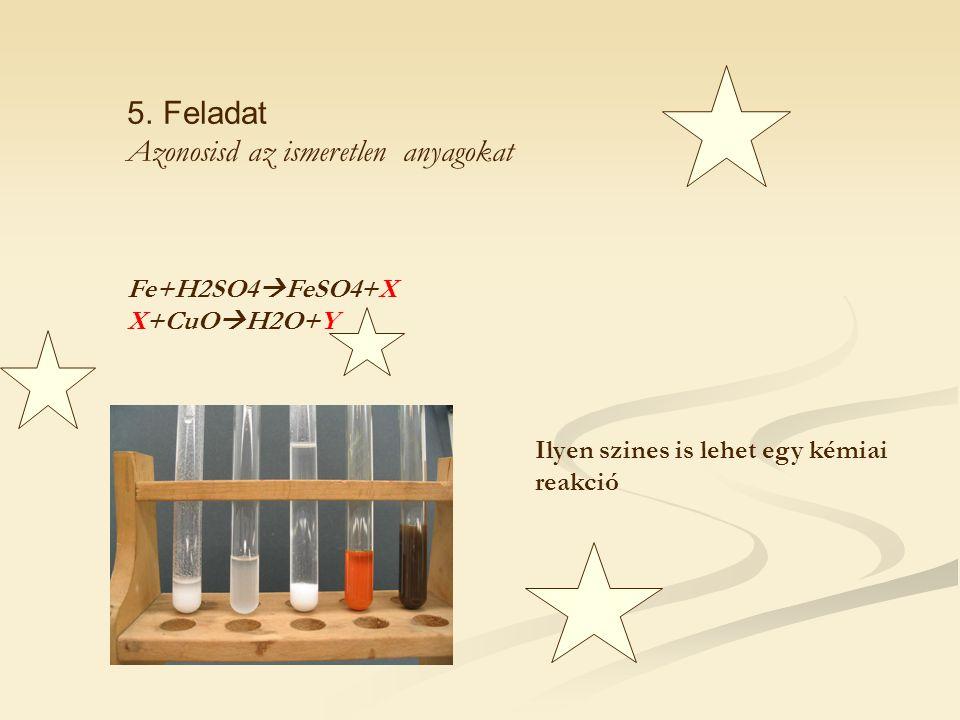 5.Feladat Azonosisd az ismeretlen anyagokat Fe+H2SO4  FeSO4+X X+CuO  H2O+Y Ilyen szines is lehet egy kémiai reakció