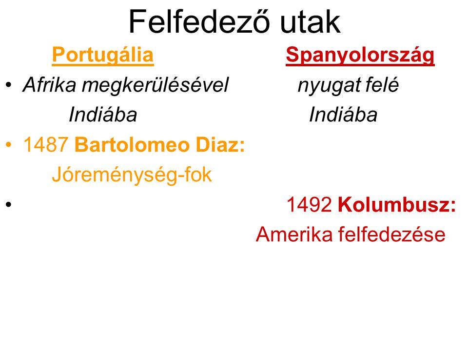 Felfedező utak PortugáliaSpanyolország Afrika megkerülésével nyugat felé Indiába Indiába 1487 Bartolomeo Diaz: Jóreménység-fok 1492 Kolumbusz: Amerika