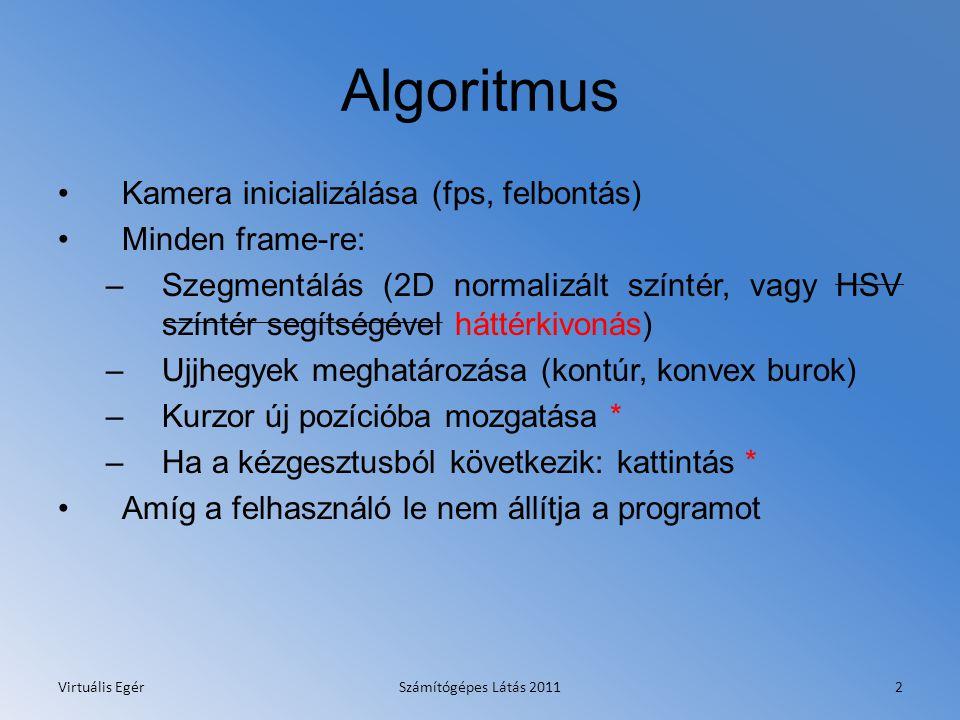 Algoritmus Kamera inicializálása (fps, felbontás) Minden frame-re: –Szegmentálás (2D normalizált színtér, vagy HSV színtér segítségével háttérkivonás) –Ujjhegyek meghatározása (kontúr, konvex burok) –Kurzor új pozícióba mozgatása * –Ha a kézgesztusból következik: kattintás * Amíg a felhasználó le nem állítja a programot Virtuális EgérSzámítógépes Látás 20112