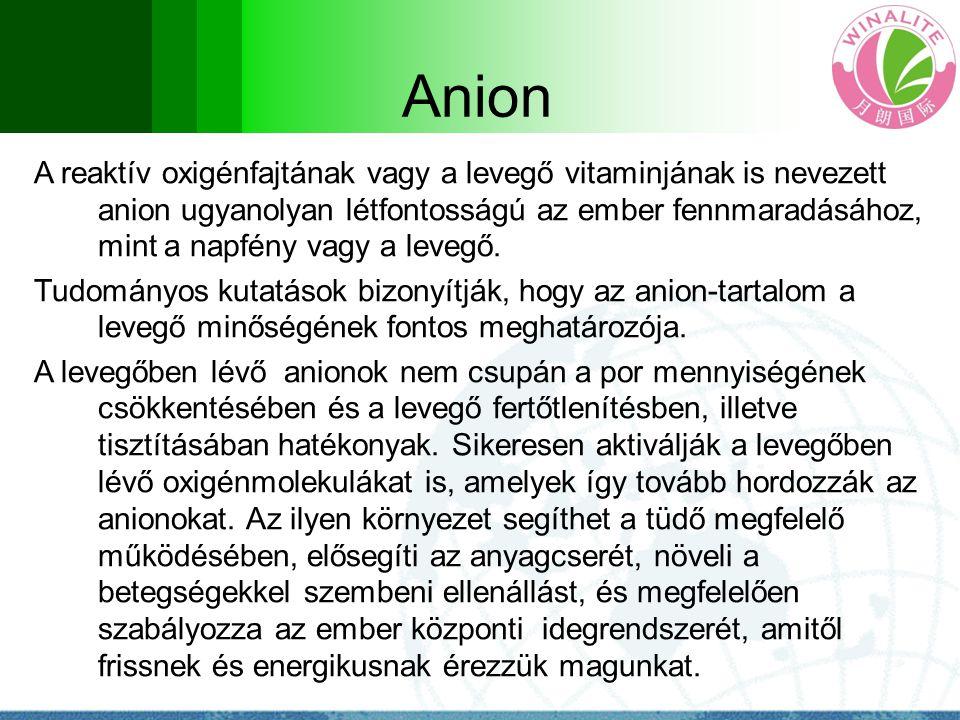 Anion A reaktív oxigénfajtának vagy a levegő vitaminjának is nevezett anion ugyanolyan létfontosságú az ember fennmaradásához, mint a napfény vagy a l