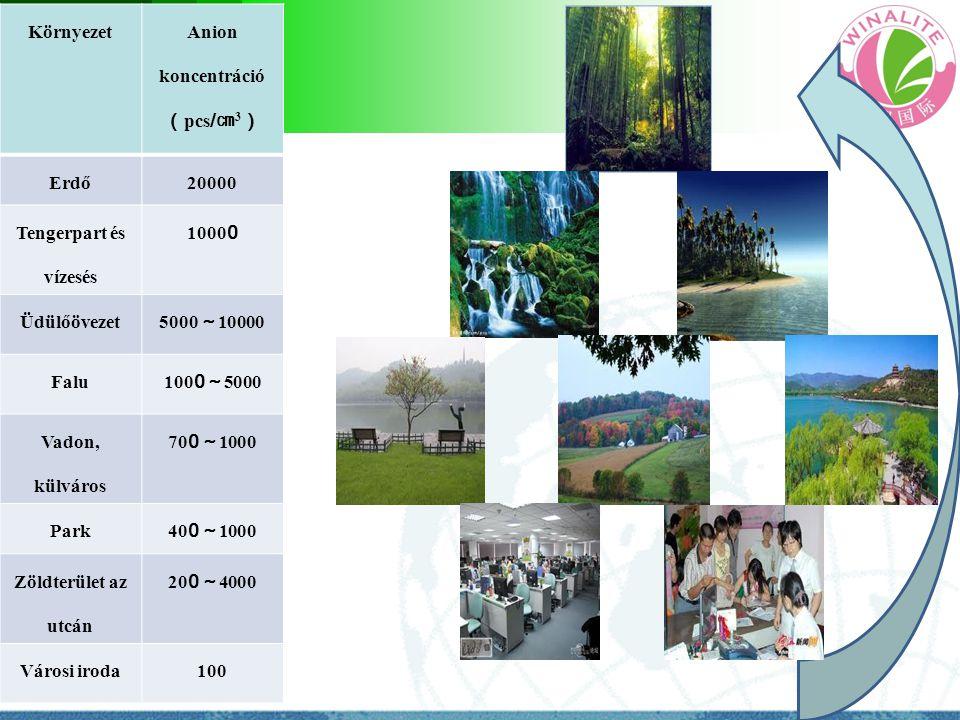 Környezet Anion koncentráció ( pcs / ㎝ 3 ) Erdő20000 Tengerpart és vízesés 1000 0 Üdülőövezet 5000 ~ 10000 Falu 100 0 ~ 5000 Vadon, külváros 70 0 ~ 10