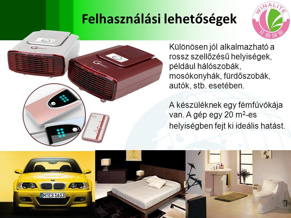Különösen jól alkalmazható a rossz szellőzésű helyiségek, például hálószobák, mosókonyhák, fürdőszobák, autók, stb. esetében. A készüléknek egy fémfúv