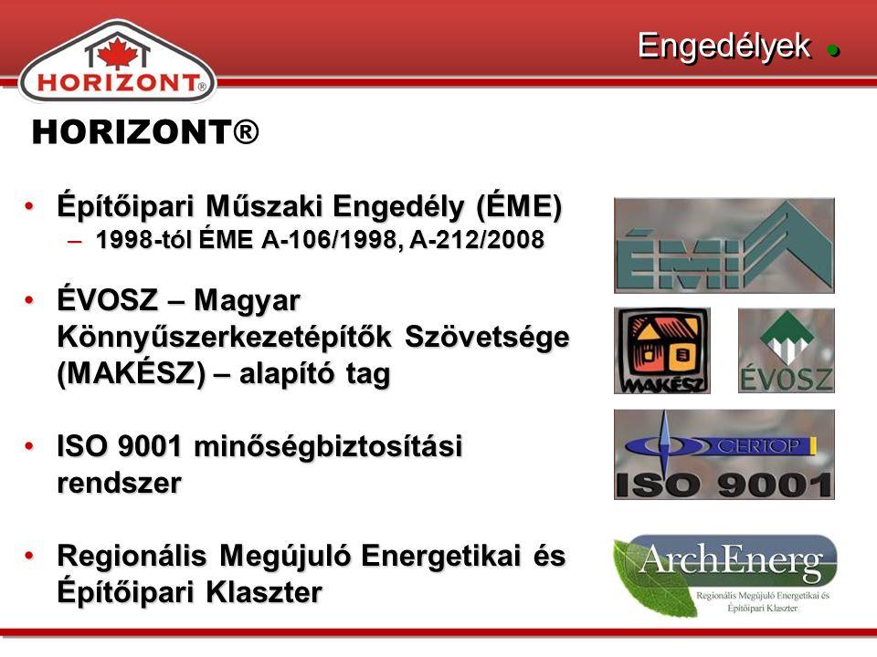 HORIZONT® Engedélyek ● Építőipari Műszaki Engedély (ÉME)Építőipari Műszaki Engedély (ÉME) –1998-tól ÉME A-106/1998, A-212/2008 ÉVOSZ – Magyar Könnyűszerkezetépítők Szövetsége (MAKÉSZ) – alapító tagÉVOSZ – Magyar Könnyűszerkezetépítők Szövetsége (MAKÉSZ) – alapító tag ISO 9001 minőségbiztosítási rendszerISO 9001 minőségbiztosítási rendszer Regionális Megújuló Energetikai és Építőipari KlaszterRegionális Megújuló Energetikai és Építőipari Klaszter