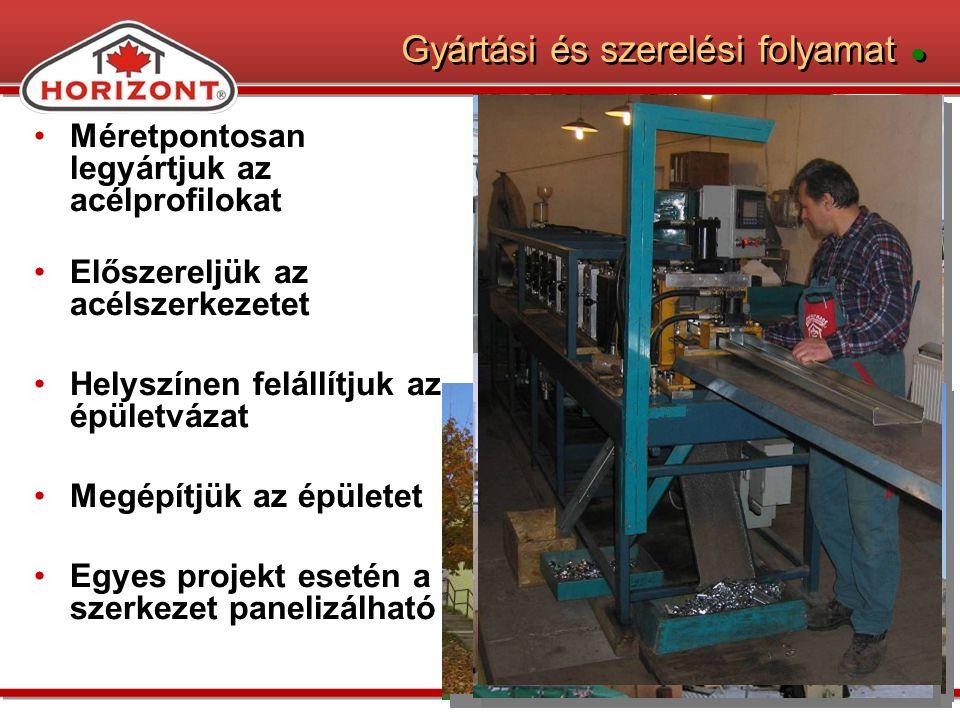 Gyártási és szerelési folyamat ● Méretpontosan legyártjuk az acélprofilokat Előszereljük az acélszerkezetet Helyszínen felállítjuk az épületvázat Megépítjük az épületet Egyes projekt esetén a szerkezet panelizálható