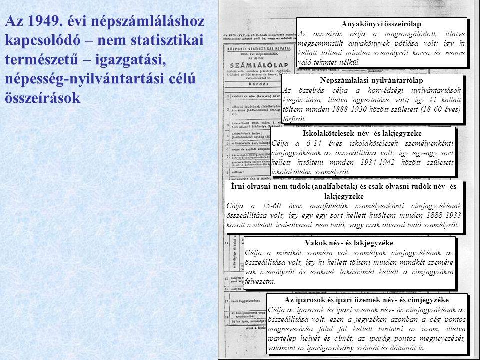 Az 1949. évi népszámláláshoz kapcsolódó – nem statisztikai természetű – igazgatási, népesség-nyilvántartási célú összeírások Anyakönyvi összeírólap Az