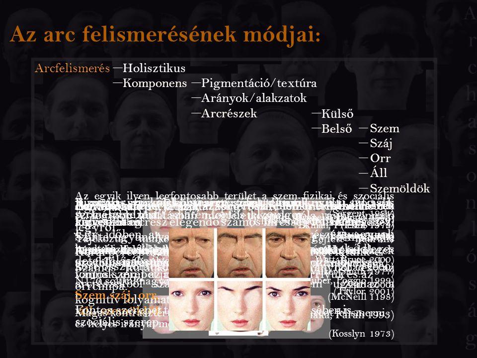 Az arc felismerésének módjai: Arcfelismerés Holisztikus Komponens Pigmentáció/textúra Arányok/alakzatok Arcrészek Küls ő Bels ő Szem Száj Orr Áll Szem