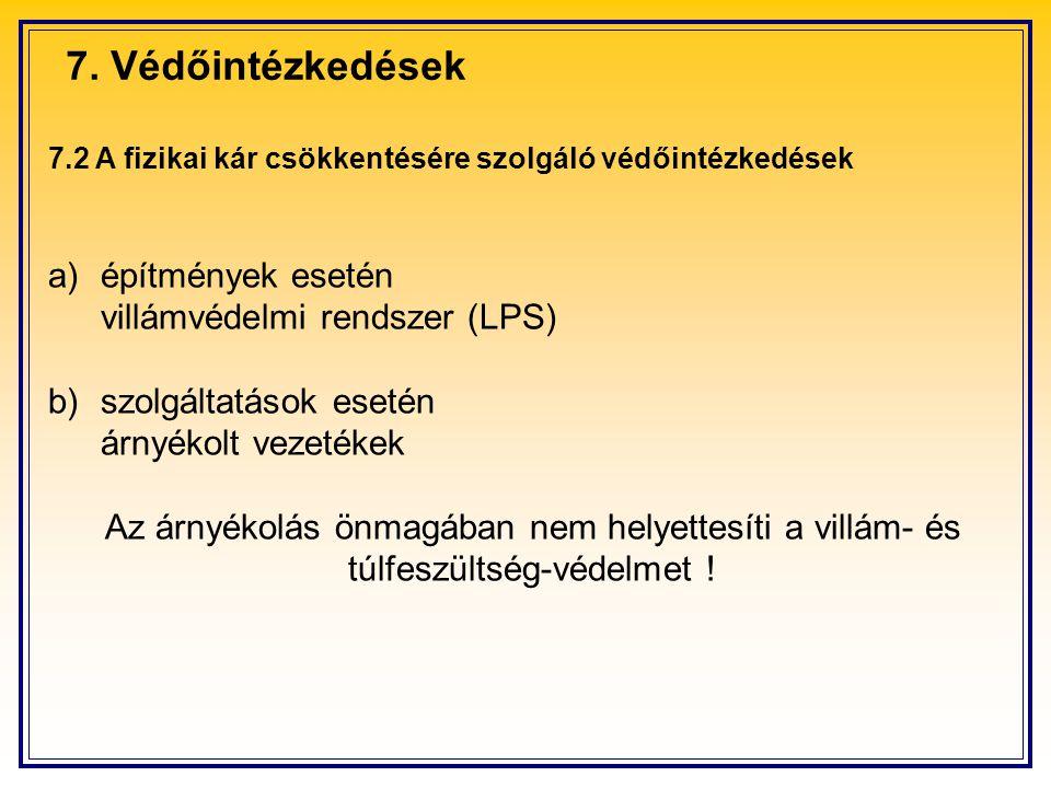 7.2 A fizikai kár csökkentésére szolgáló védőintézkedések a)építmények esetén villámvédelmi rendszer (LPS) b)szolgáltatások esetén árnyékolt vezetékek