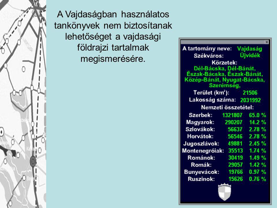 A Vajdaságban használatos tankönyvek nem biztosítanak lehetőséget a vajdasági földrajzi tartalmak megismerésére.