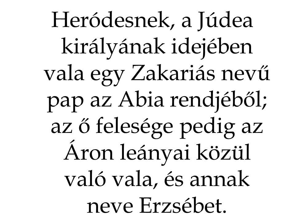 Heródesnek, a Júdea királyának idejében vala egy Zakariás nevű pap az Abia rendjéből; az ő felesége pedig az Áron leányai közül való vala, és annak neve Erzsébet.