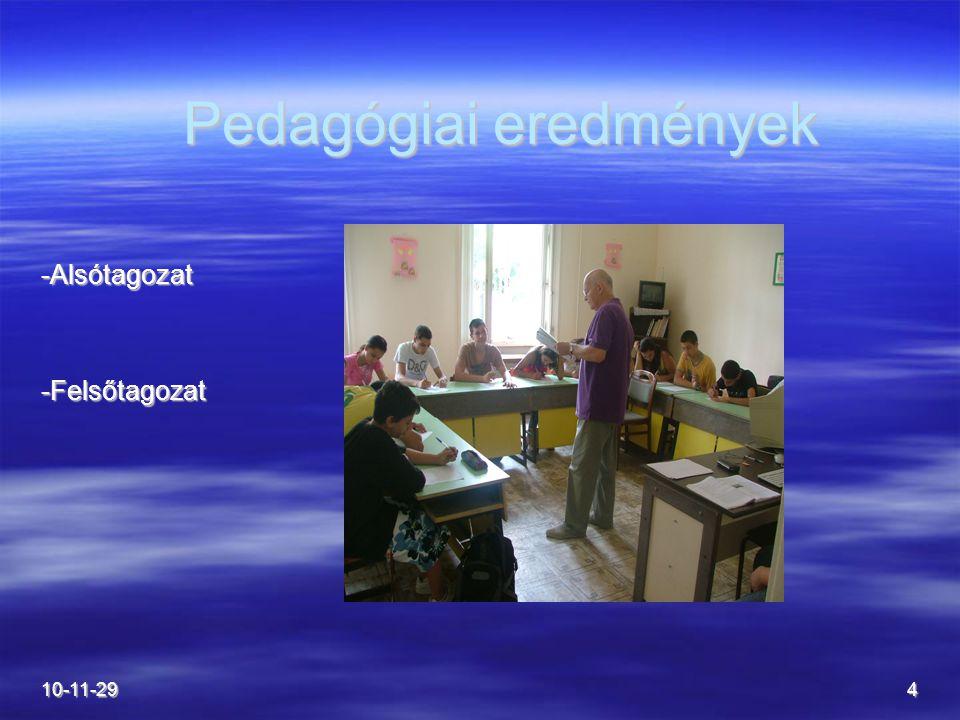 4 Pedagógiai eredmények Pedagógiai eredmények -Alsótagozat-Felsőtagozat
