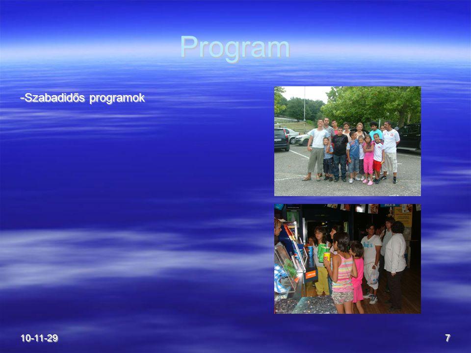 10-11-297 Program - Szabadidős programok