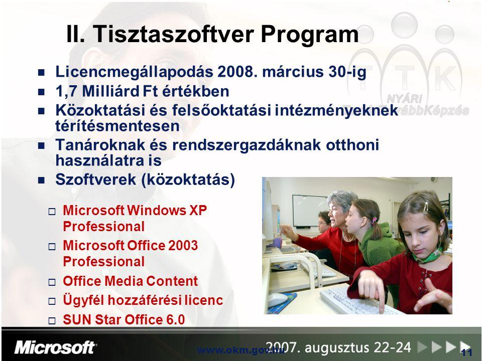 OKM www.okm.gov.hu 11 II. Tisztaszoftver Program n Licencmegállapodás 2008. március 30-ig n 1,7 Milliárd Ft értékben n Közoktatási és felsőoktatási in