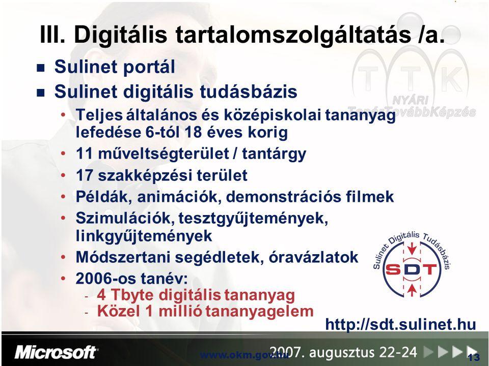 OKM www.okm.gov.hu 13 III. Digitális tartalomszolgáltatás /a. n Sulinet portál n Sulinet digitális tudásbázis Teljes általános és középiskolai tananya