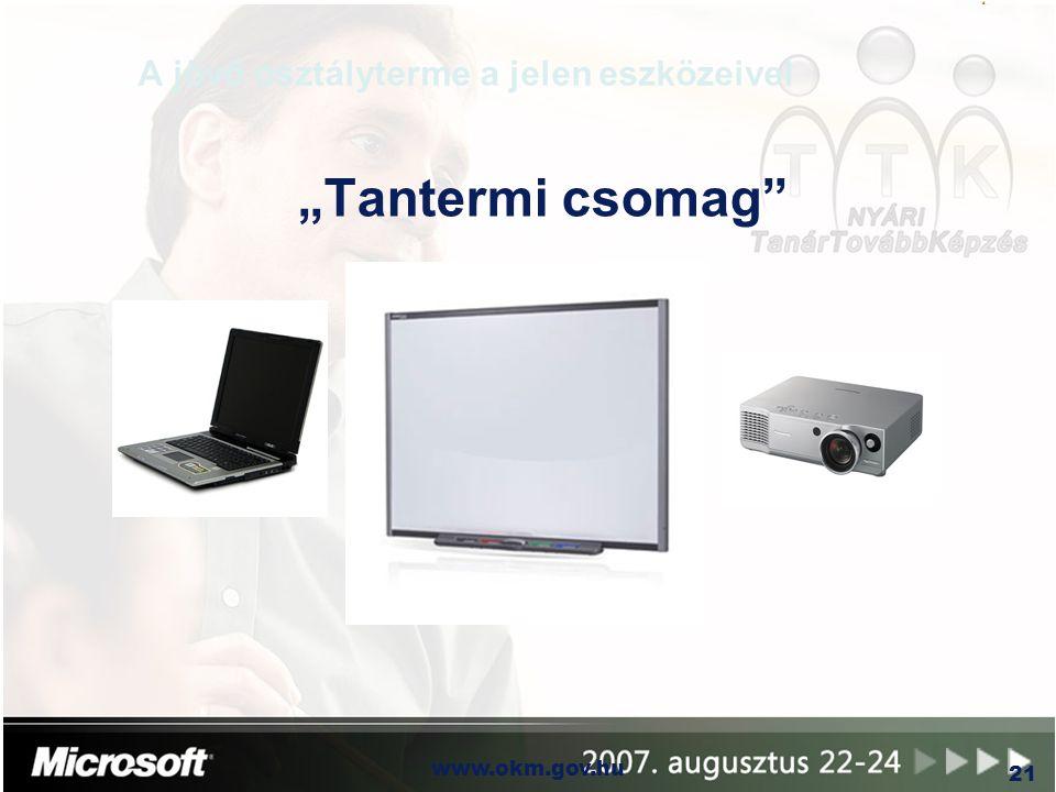 """OKM www.okm.gov.hu 21 A jövő osztályterme a jelen eszközeivel """"Tantermi csomag"""