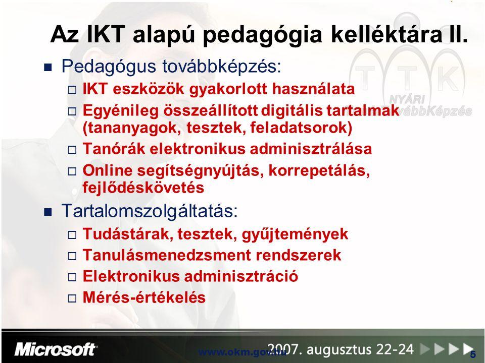 OKM www.okm.gov.hu 5 Az IKT alapú pedagógia kelléktára II. n Pedagógus továbbképzés:  IKT eszközök gyakorlott használata  Egyénileg összeállított di