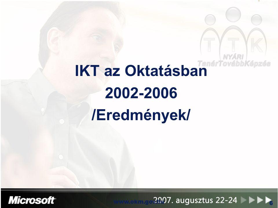 OKM www.okm.gov.hu 7 n Közháló program  Szélessávú Internet hozzáférés az ország egész területén (többnyire 1 Mbit/sec)  5500 közoktatási intézmény 2005 végéig csaknem 2500 településen  500 elzárt, nehezen hozzáférhető település műholdas bekötése n NFT II (2007-2013): áttérés optikai hálózatra I.