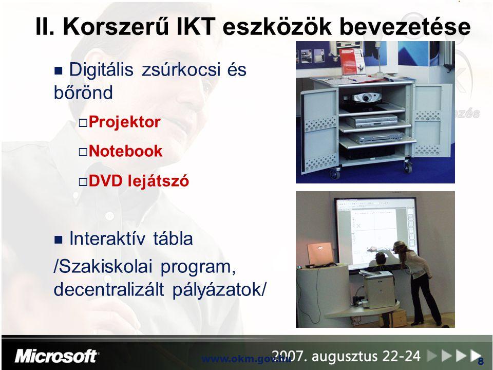 OKM www.okm.gov.hu 8 II. Korszerű IKT eszközök bevezetése n Digitális zsúrkocsi és bőrönd  Projektor  Notebook  DVD lejátszó n Interaktív tábla /Sz