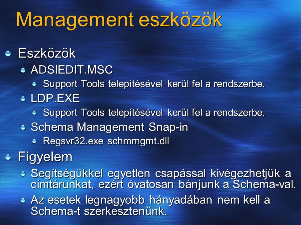 Management eszközök EszközökADSIEDIT.MSC Support Tools telepítésével kerül fel a rendszerbe. LDP.EXE Schema Management Snap-in Regsvr32.exe schmmgmt.d